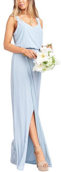 Item - Steel Blue Chiffon Kendall Slit Long Casual Maxi Dress Size 12 (L)