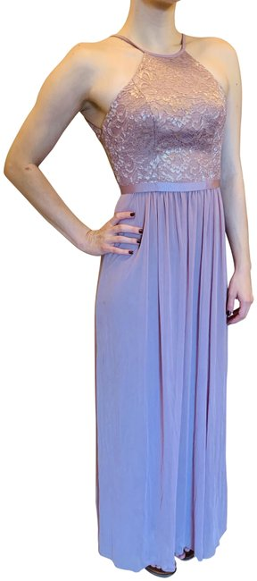Item - Rose Gold Metallic Open-back Lace and Mesh Bridesmaid Long Formal Dress Size 0 (XS)