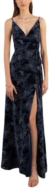 Item - Ivy Burnout French Blue Multi Selma V-neck Bodice Long Night Out Dress Size 18 (XL, Plus 0x)