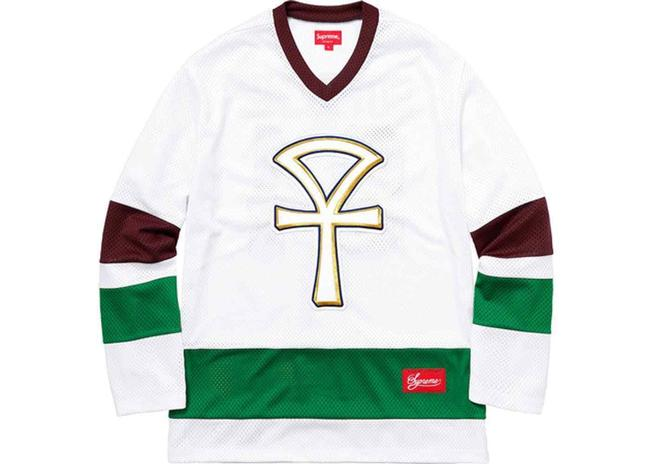 Item - White Green Jersey Men's Ankh Hockey Long Sleeve Shirt Ss18 Large Activewear Sportswear Size 14 (L, 34)