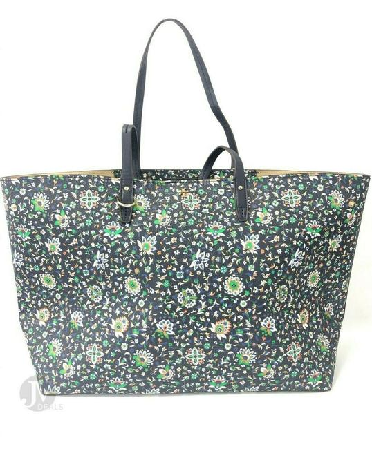 Tory Burch Kerrington Large Square Canvas Handbag Floral Navy Soleil Leather Tote Tory Burch Kerrington Large Square Canvas Handbag Floral Navy Soleil Leather Tote Image 1