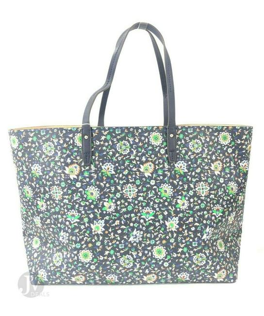 Tory Burch Kerrington Large Square Canvas Handbag Floral Navy Soleil Leather Tote Tory Burch Kerrington Large Square Canvas Handbag Floral Navy Soleil Leather Tote Image 2