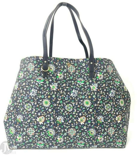 Tory Burch Kerrington Large Square Canvas Handbag Floral Navy Soleil Leather Tote Tory Burch Kerrington Large Square Canvas Handbag Floral Navy Soleil Leather Tote Image 3