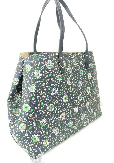 Tory Burch Kerrington Large Square Canvas Handbag Floral Navy Soleil Leather Tote Tory Burch Kerrington Large Square Canvas Handbag Floral Navy Soleil Leather Tote Image 4