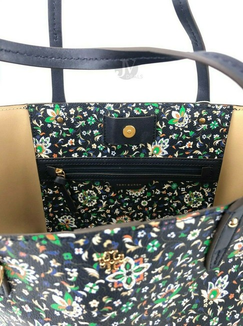 Tory Burch Kerrington Large Square Canvas Handbag Floral Navy Soleil Leather Tote Tory Burch Kerrington Large Square Canvas Handbag Floral Navy Soleil Leather Tote Image 7