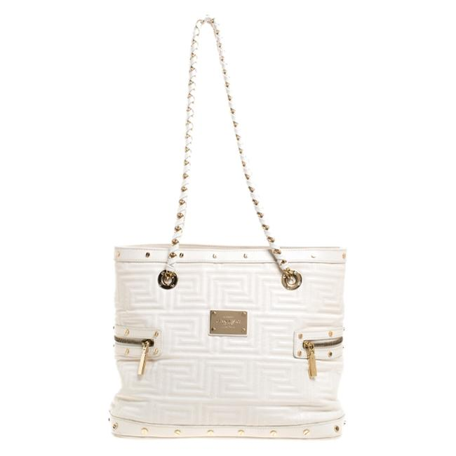Versace Quilted Sided Zip White Leather Tote Versace Quilted Sided Zip White Leather Tote Image 1