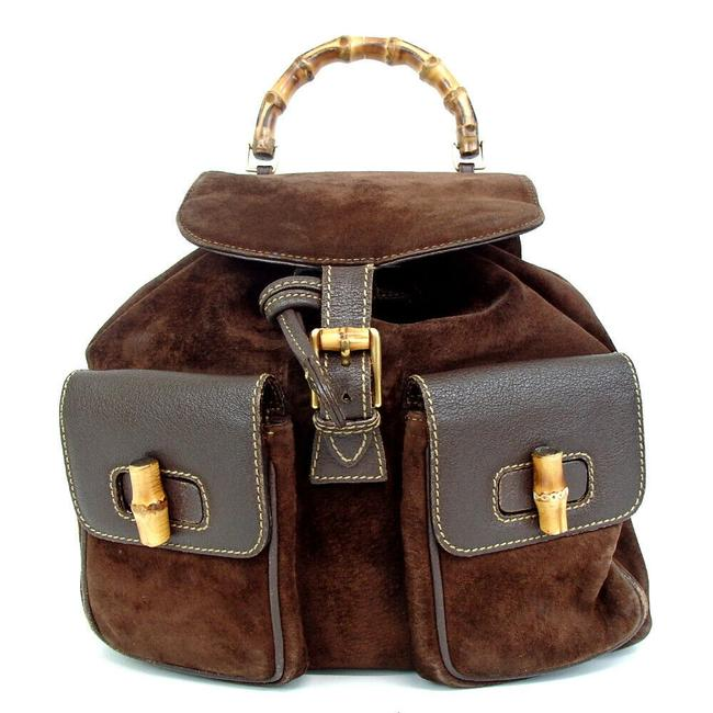 Gucci Bamboo 860398 Brown Suede Backpack Gucci Bamboo 860398 Brown Suede Backpack Image 1