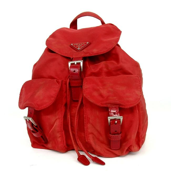 Item - Twin Pocket Tessuto Bookbag 858404 Red Nylon Backpack