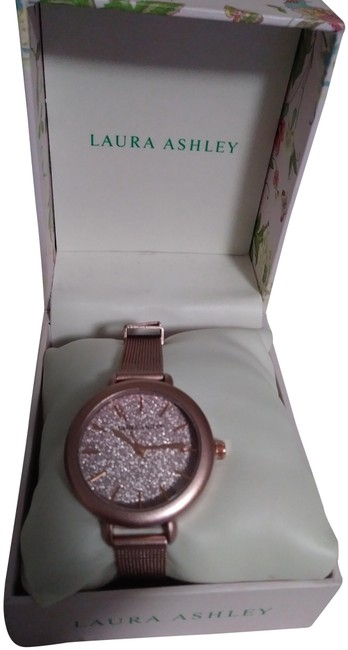 Laura Ashley Pink Facet Bezel Sunray Dial Mesh Watch Laura Ashley Pink Facet Bezel Sunray Dial Mesh Watch Image 1