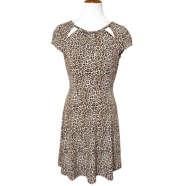Preload https://img-static.tradesy.com/item/27886089/michael-kors-brown-cream-leopard-a-line-mid-length-workoffice-dress-size-2-xs-0-0-650-650.jpg