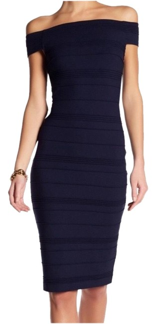Ted Baker Blue Bardot Sheath Midi Navy Mid-length Cocktail Dress Size 8 (M) Ted Baker Blue Bardot Sheath Midi Navy Mid-length Cocktail Dress Size 8 (M) Image 1