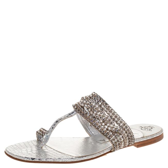 Gina Peters Silver Crystal Embellished Leather Thong Slides Flats Size US 6.5 Regular (M, B) Gina Peters Silver Crystal Embellished Leather Thong Slides Flats Size US 6.5 Regular (M, B) Image 1