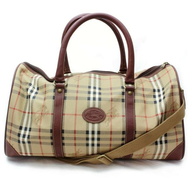 Burberry Duffle Nova Check Boston with Strap 860436 Light Brown Coated Canvas Weekend/Travel Bag Burberry Duffle Nova Check Boston with Strap 860436 Light Brown Coated Canvas Weekend/Travel Bag Image 1