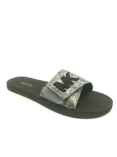 Item - Pale Blue Embossed Palmer Women's Slide Sandals Size US 6 Regular (M, B)
