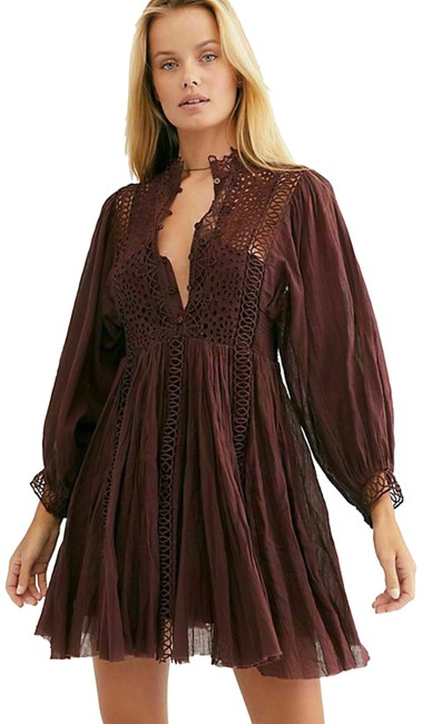 Free People Brown XS Fp One Karma Eyelet Mini Crochet Lace Boho Short Casual Dress Size 2 (XS) Free People Brown XS Fp One Karma Eyelet Mini Crochet Lace Boho Short Casual Dress Size 2 (XS) Image 1