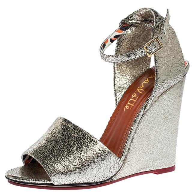 Charlotte Olympia Metallic Gold Crackled Leather Mischievous Wedge Sandals Size US 10 Regular (M, B) Charlotte Olympia Metallic Gold Crackled Leather Mischievous Wedge Sandals Size US 10 Regular (M, B) Image 1