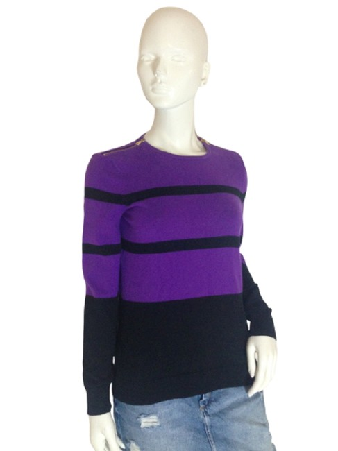(Gr) Long Sleeve Size M (Sku 000 Purple and Black Sweater (Gr) Long Sleeve Size M (Sku 000 Purple and Black Sweater Image 1