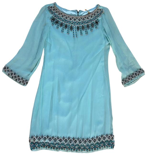 Item - Blue and Silver Nwot Silk Beaded Small Mid-length Cocktail Dress Size 4 (S)