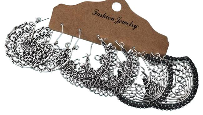 Unbranded Vintage Ethnic Tribal Hollow Out Floral Mandala Silver Dangle Drop Set Earrings Unbranded Vintage Ethnic Tribal Hollow Out Floral Mandala Silver Dangle Drop Set Earrings Image 1