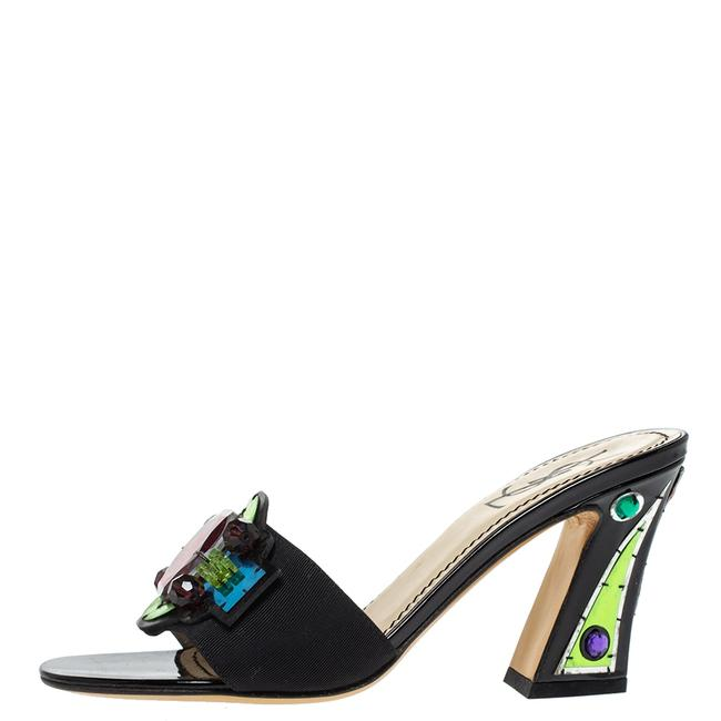 Saint Laurent Black Paris Gem Embellished Open 35.5 Sandals Size US 5 Regular (M, B) Saint Laurent Black Paris Gem Embellished Open 35.5 Sandals Size US 5 Regular (M, B) Image 1