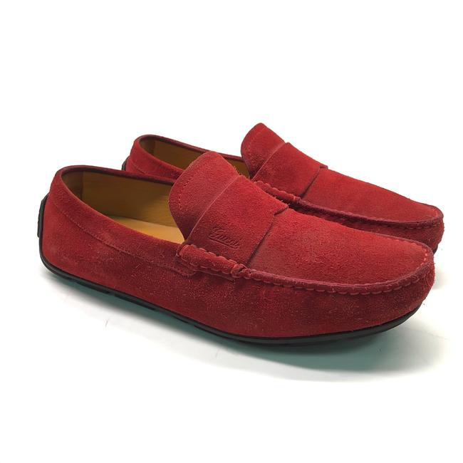 Gucci Red W Mens Suede Drivers / Moccasins / Logo Flats Size US 8.5 Regular (M, B) Gucci Red W Mens Suede Drivers / Moccasins / Logo Flats Size US 8.5 Regular (M, B) Image 1
