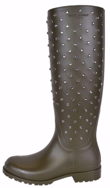 Item - Olive New Ysl Yves Green Crystal Studded Tall Rubber Boots/Booties Size US 6 Regular (M, B)