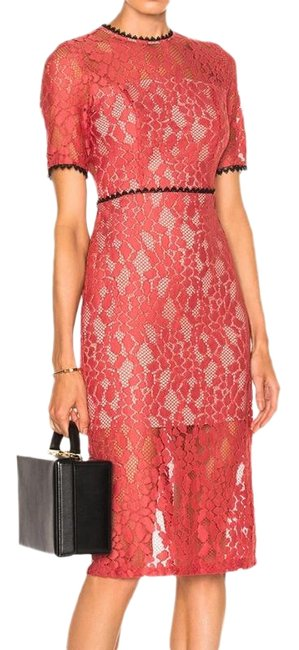 Item - Red Black Remi Salmon Guipure Lace Cut Out Midi Mid-length Cocktail Dress Size 6 (S)