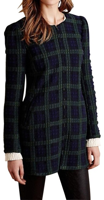 Item - Blue Green Kensington Plaid Coat By Harlyn Zip Front Quilted Blazer Size 8 (M)