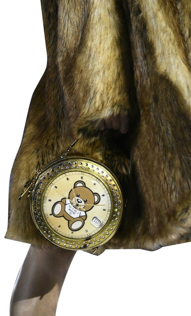 Item - Aw19 Teddy Bear Crystals Embellished Clock Gold/Brown/Multi-color Clutch
