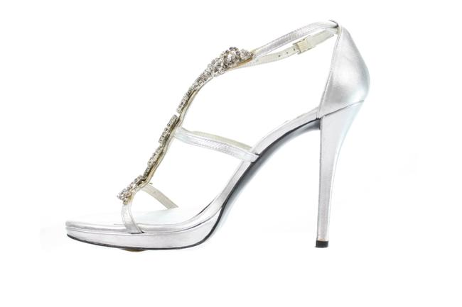 Item - Silver Rhinestone Encrusted Leather Sandals Pumps Size US 8 Regular (M, B)