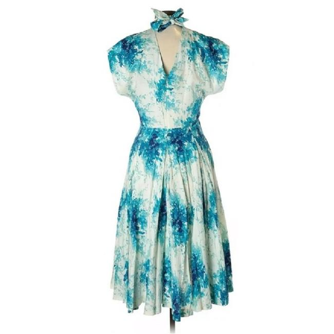 Item - White Blue Maple Annabelle Hydrangea Floral Midi Fit-and-flare Mid-length Cocktail Dress Size 8 (M)