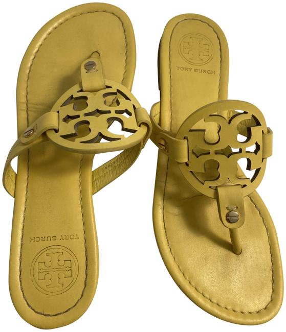 Item - Yellow Leather Miller Sandals Size US 7 Regular (M, B)