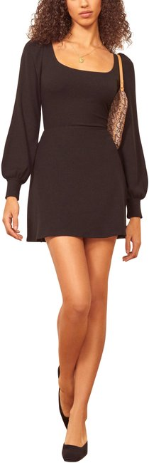 Item - Black Linah Square Neck Puff Sleeves Mini Short Casual Dress Size 0 (XS)