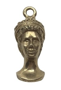 Vintage Vintage 14k Gold Bust of English Queen Pendent Charm