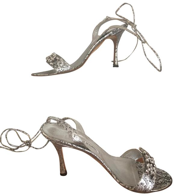 Item - Silver W Auth.manolo High Heal W/Crystal Front Detail Sandals Size US 8 Regular (M, B)
