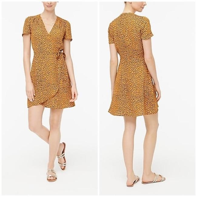 Item - Orange Yellow Leopard Drapey Twill Wrap Short Work/Office Dress Size 4 (S)