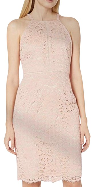 Item - Peach To Pink Like Color Lace Bodycon Mid-length Night Out Dress Size 6 (S)