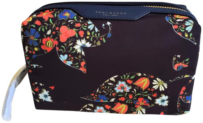 Item - Navy Multi New Floral Print Nylon Makeup Pouch Cosmetic Bag