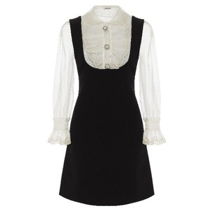 Item - Black Cady and Organza with Eyelet Lace  Cocktail Dress