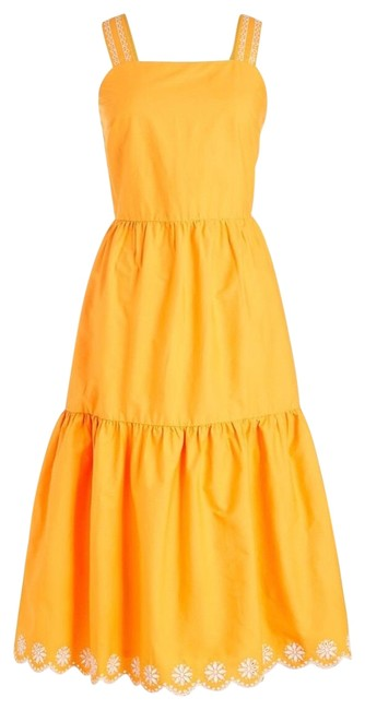 Item - Saffron Embroidered Scalloped Tiered Lined Cotton Mid-length Cocktail Dress Size 4 (S)