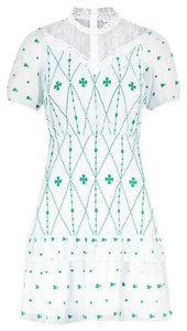 Item - Green and White Lace-panelled Embroidered  Casual Dress