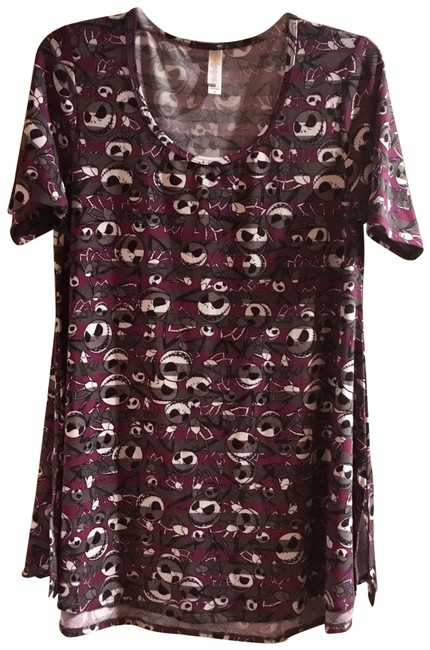 Item - Burgundy / Gray / Black XS Nwot Nightmare Before Christmas Perfect Tee Blouse Size 0 (XS)