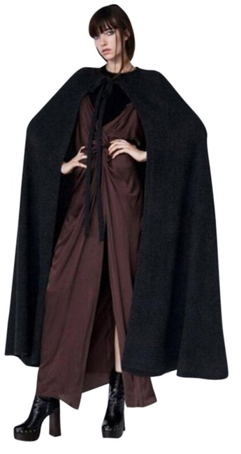 Item - Grey Full Length Cashmere Anthracite Retail Poncho/Cape Size 10 (M)