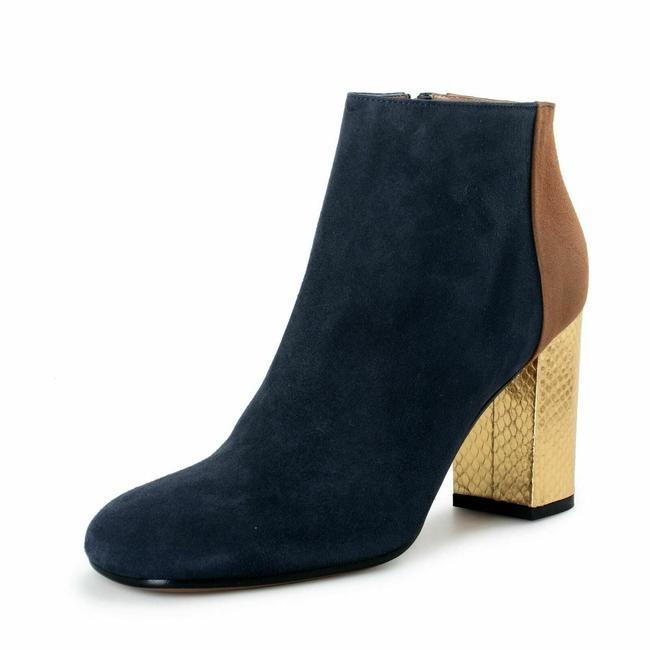 Item - Blue Women's Suede Leather Heeled Ankle Boots/Booties Size US 10 Regular (M, B)