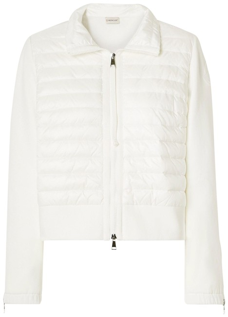 Item - Ivory Jersey Quilted Shell and Cotton-blend Down Jacket Coat Size 12 (L)