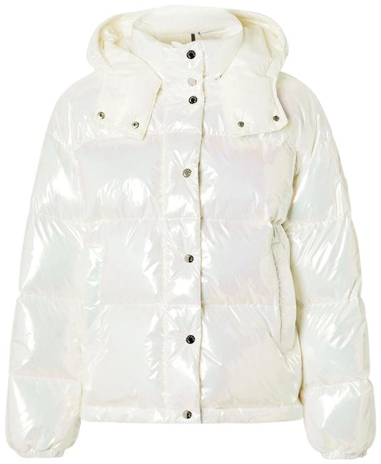 Item - Ivory Daos Iridescent Hooded Quilted Shell Down Jacket Coat Size 12 (L)