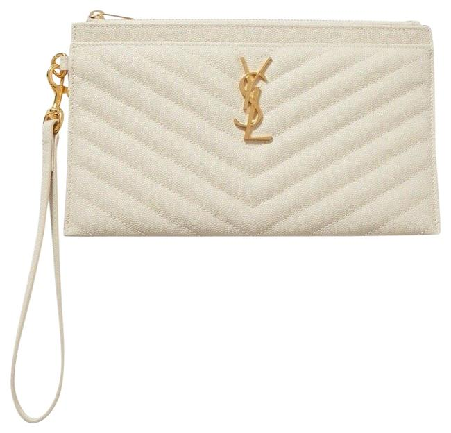 Item - Clutch New Ysl Quilted Cream Off White Leather Wristlet