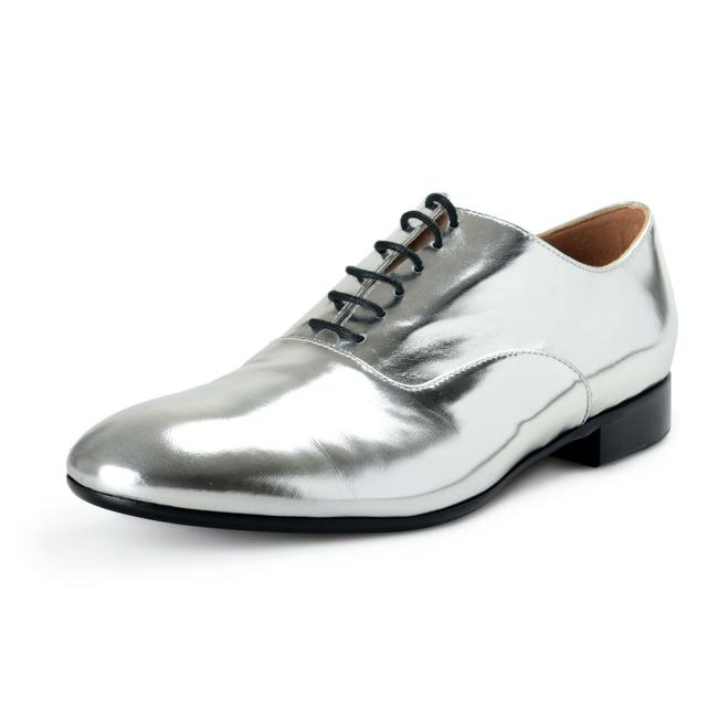 Item - Silver Women's Leather Oxfords Lace Up Flats Size US 10 Regular (M, B)