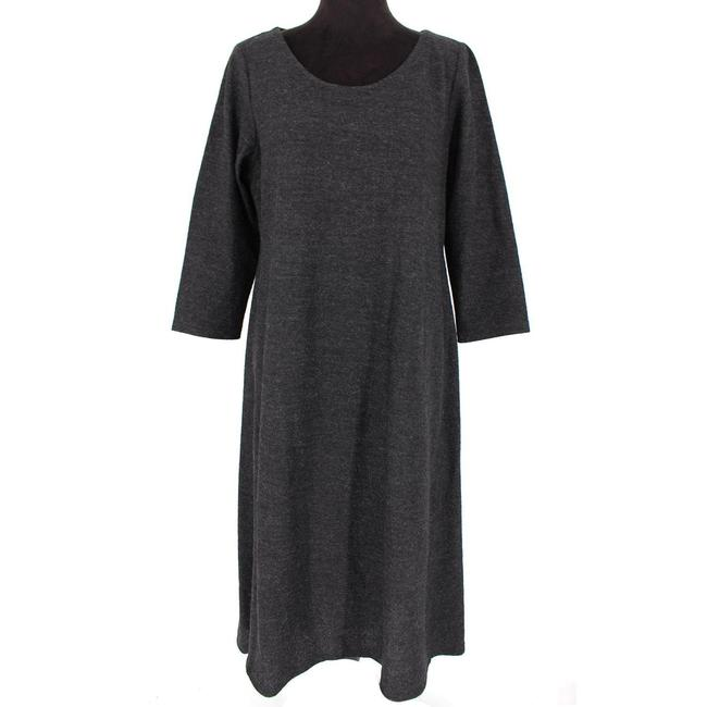 Item - Charcoal Knitted Wool Mid-length Short Casual Dress Size 12 (L)