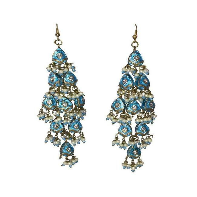 Item - Blue Indian Wood Lacquer and Rhinestone Chandelier Earrings